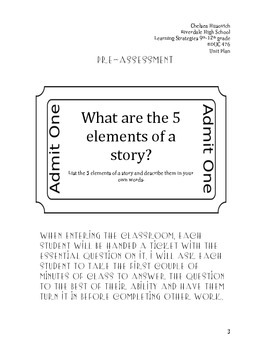 5 elements of a story Unit Plan