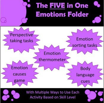 5 in 1 Emotions Folder - A fun and easy way to work on feelings!