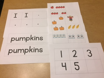 5 in Fall Pocket Chart Cards (Emergent Reading with Subitizing to 5)