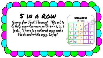 5 in a Row Fact Fluency for +/- 1, 2, and 3