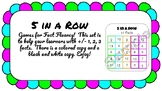 5 in a Row Fact Fluency for +/- 1, 2, 3, doubles, doubles +1, add to make 10.