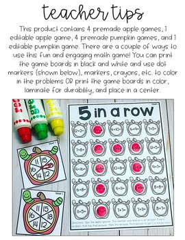 5 in a Row Math Fact Game {Fall Edition} EDITABLE