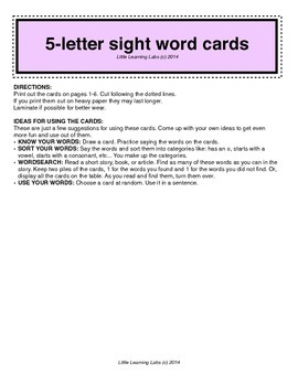 5-letter vocabulary spelling sight words cards for prek primary kindergarten