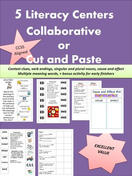 5 literacy centers cut and paste or collaborative!