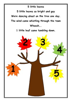 5 little leaves, so bright and gay. An Autumn number song rhyme