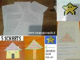 5 math scheets,  geometric shapes, pixel art