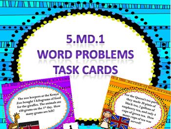 5.md.1 word problem task cards