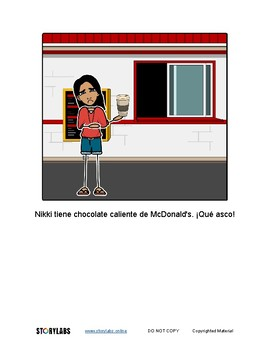 Read-to-Learn Spanish Illustrated Story - La Chica Quiere Chocolate Caliente