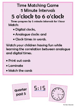 Time - 5 o'clock to 6 o'clock by 5 minute intervals