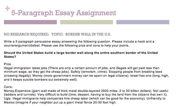5-paragraph assignment- no research necessary