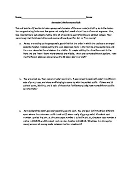 """5 question """"Performance Task"""" dealing with Statistics and Probability"""