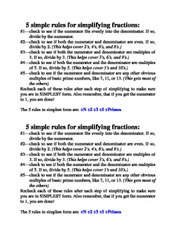 5 rules for simplifying fractions cheat sheet - easier than divisibility rules