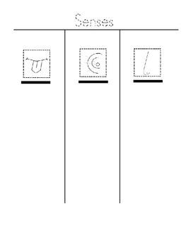 5 senses cut and paste graphic organizer