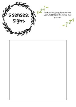 5 senses - nature walk printable resource