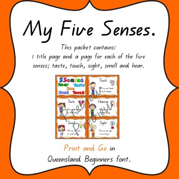 5 senses posters in Queensland Beginners Font