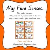 5 senses posters in Queensland Beginners Font
