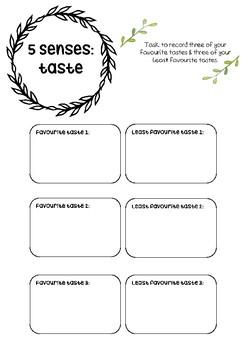 5 Senses Taste Printable Resource By Bwatson Au Tpt