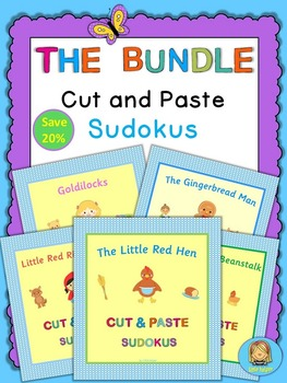 Kindergarten cut and paste picture sudokus with story characters bundle
