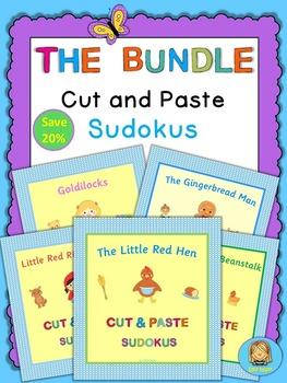 Set of Kindergarten cut and paste picture sudokus