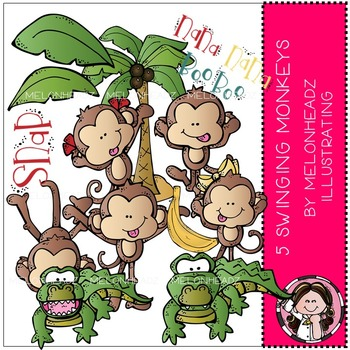 Melonheadz: 5 Swinging Monkeys clip art - COMBO PACK
