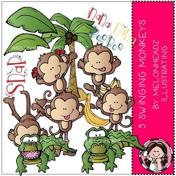 5 Swinging Monkeys clip art - COMBO PACK - by Melonheadz