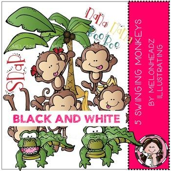 Melonheadz: 5 Swinging Monkeys clip art - BLACK AND WHITE