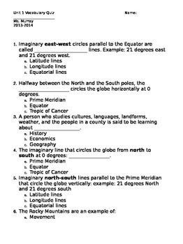 5 themes of Geography Quiz