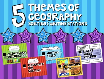 5 themes of Geography Sorting & Writing Stations Activity