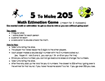 5 to Make 205 - Math Estimation dice game - Great  at  Centers!