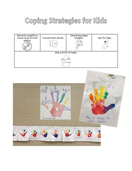 5 ways for students to calm down hand print craft with printable cards
