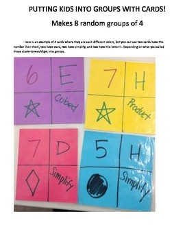 5 ways to make 8 Random Groups of 4 in the classroom.