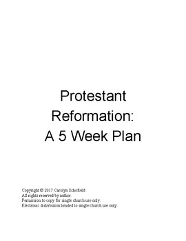 5 week Reformation Lesson