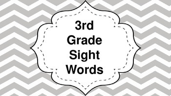 5 weeks of 3rd Grade Sight Words!