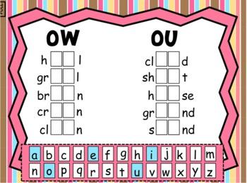 5 weeks of SMARTboard Spelling ow,ou,oi,oy,oo,ue,au,aw,ui,ew,oe,oo,ou Diphthongs