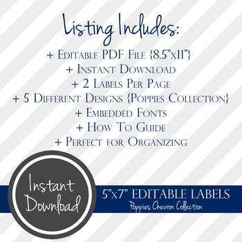 """5"""" x 7"""" EDITABLE PRINTABLE Labels - Poppies Chevron Collection"""