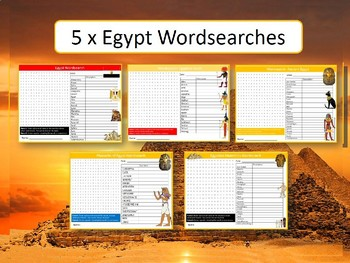 5 x Egypt Wordsearch Puzzle Sheets Keywords Geography History