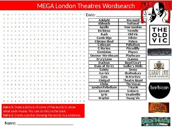 5 x London City Wordsearch Sheet Starter Activity Keywords Geography