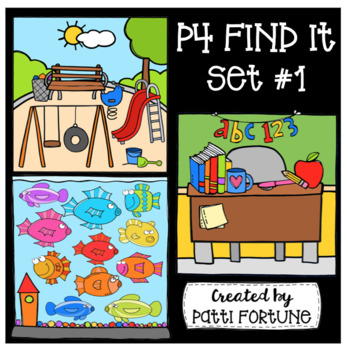 P4 FIND IT Set #1 {P4 Clips Trioriginals Digital Clip Art}