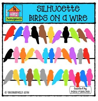 Silhouette Birds on a Wire {P4 Clips Trioriginals Digital Clip Art}