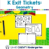 Kindergarten Math Exit Tickets: Geometry