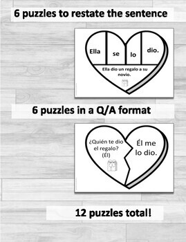 Double Object Pronouns Spanish Valentine's Puzzles and Practice