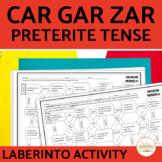 Spanish PRETERITE Car Gar Zar VERBS Maze Practice Activity with DIGITAL Option
