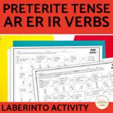 Spanish PRETERITE Regular AR ER IR VERBS Maze Practice Activity with DIGITAL