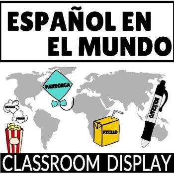 "Classroom Display ""Español en el mundo"" Synonyms in Spanish"
