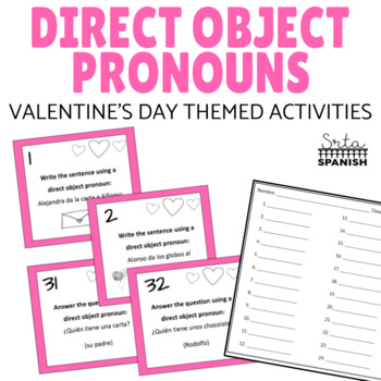 Direct Object Pronouns Spanish Task Cards Valentine's Day Theme
