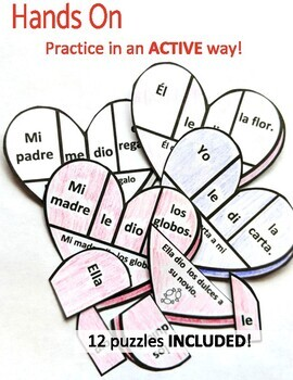 Indirect Object Pronouns Spanish Valentine's Puzzle and Practice