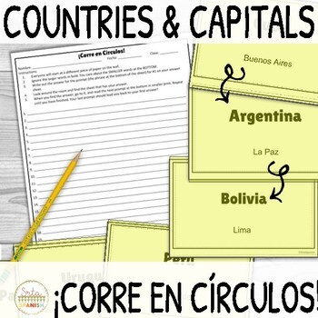 Spanish Speaking Countries and Capitals ¡Corre en Círculos! Activity