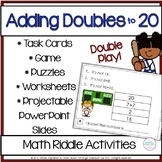 Adding Doubles Riddle Task Cards and Printables