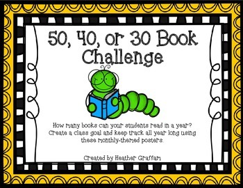 50, 40, or 30 Book Challenge Monthly-Themed Posters