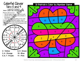 St. Patrick's Day Color by Number: St. Patrick's Day Math Games